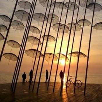 Thessaloniki Umbrellas Sunset